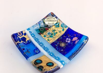 Blue Murano Glass plate with murrina and gold