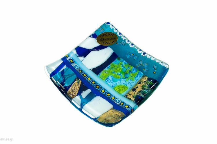 Paitto quadrato blu in vetro di Murano con oro e murrina