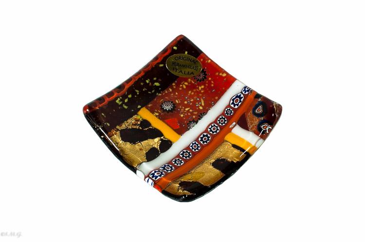 Paitto quadrato in vetro di Murano con oro e murrina