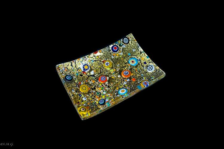Piatto rettangolare in vetro di Murano con oro