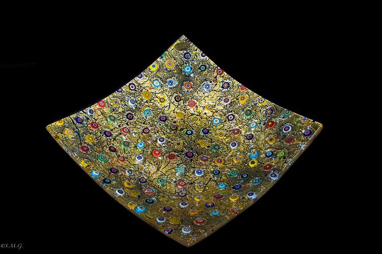 Piatto quadrato in vetro di Murano con oro