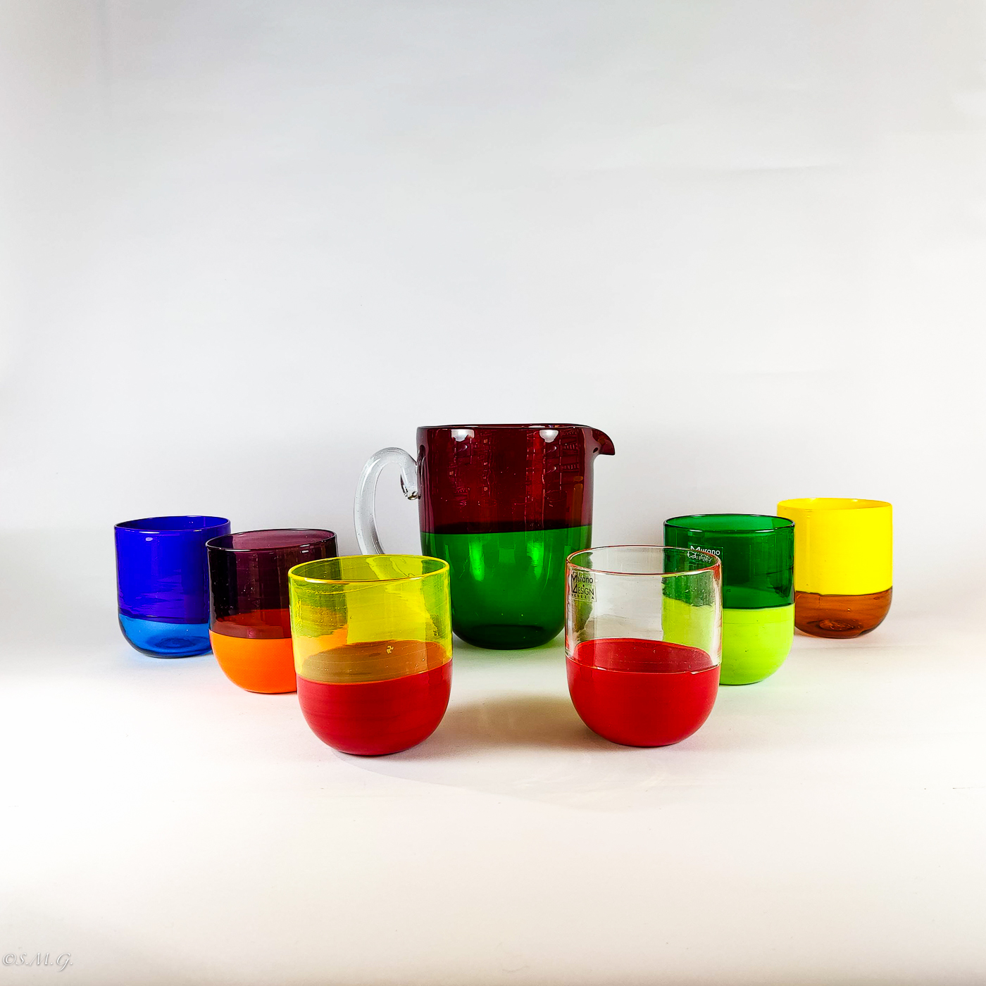 Set of 6 Murano Glass tumblers and carafe
