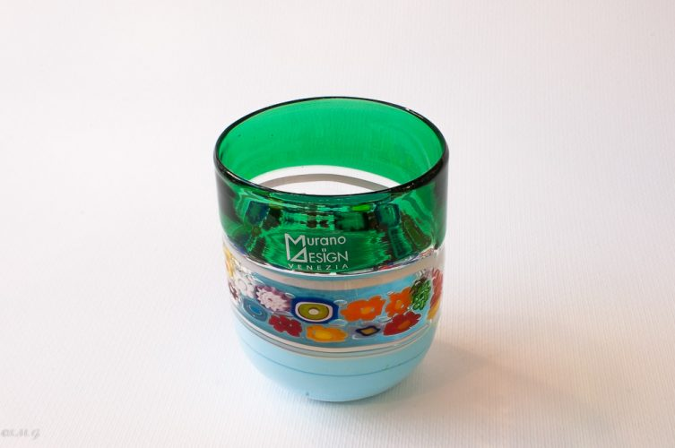 Murano Glass tumbler with murrina and different colours