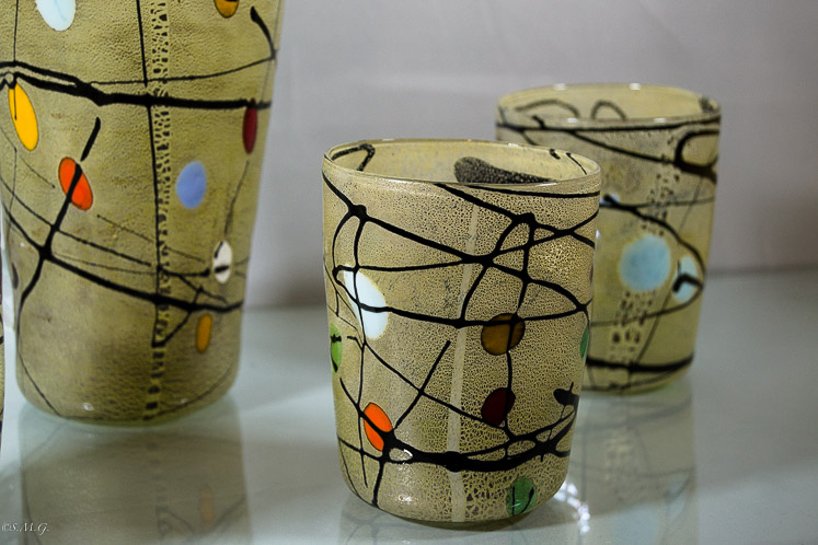 Murano Glass tumbler with silver leaf, black lines and coloured spots