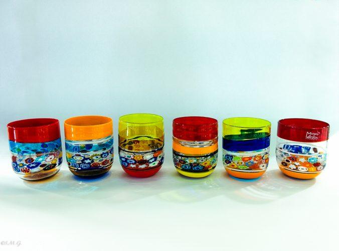 Set of 6 Murano Glass tumblers with Murrina
