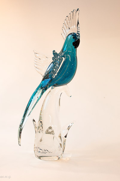 Murano Glass Blue parrot on a branch