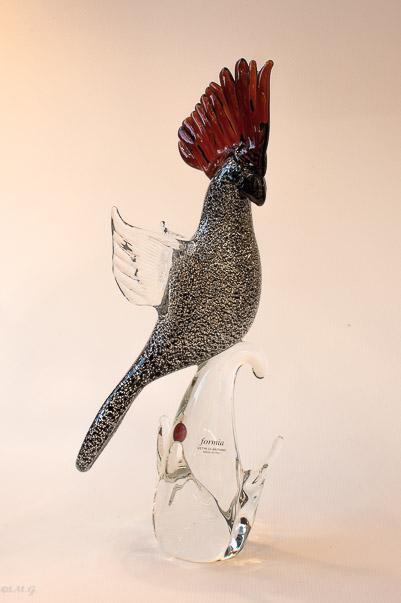 Murano Glass Black parrot on a branch
