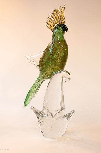 Murano Glass green parrot on a branch