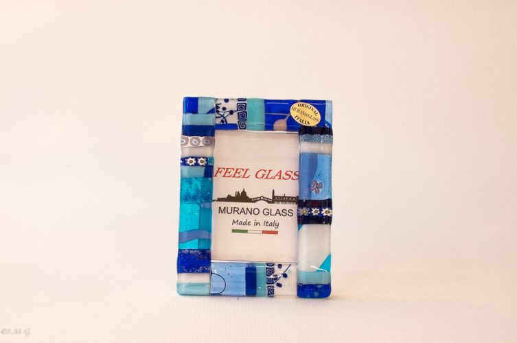 Murano Glass picture frame with blue, gold and murrina