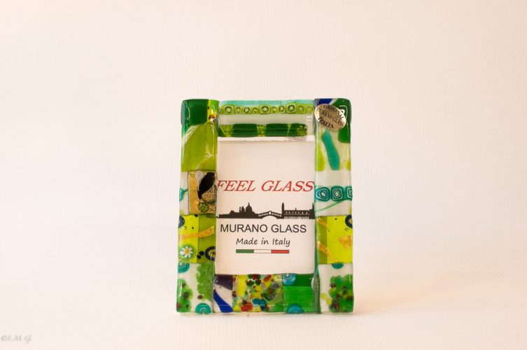 Murano Glass picture frame with green, gold and murrina