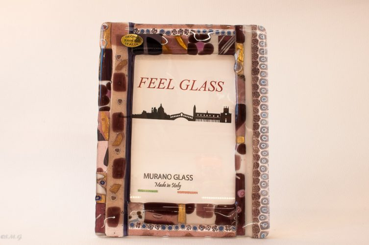 Murano Glass picture frame with purple, gold and murrina