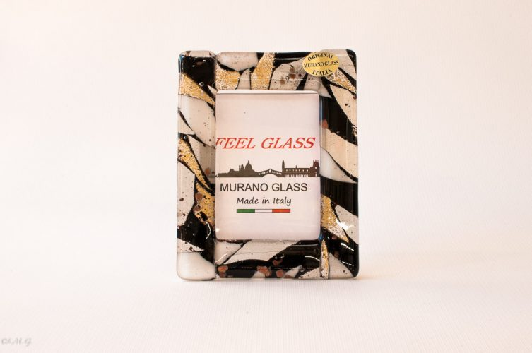 Murano Glass picture with black white and gold