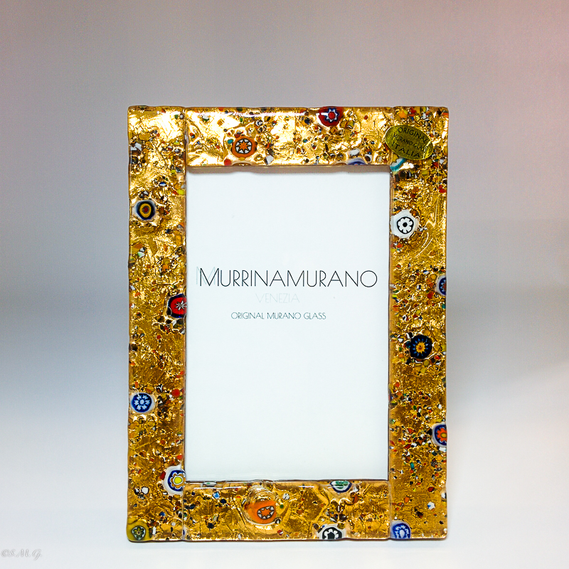 Murano glass picture frame with gold