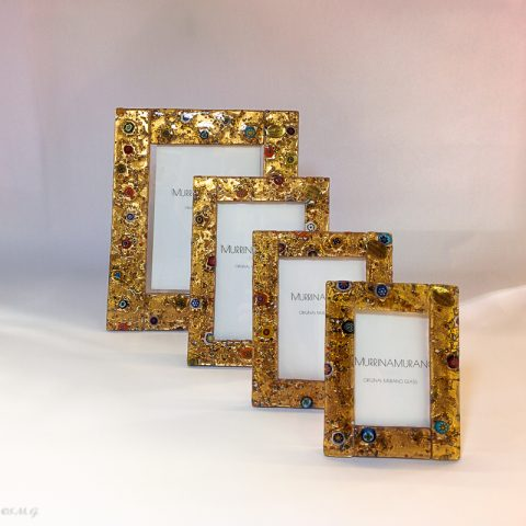 Murano glass picture frames with gold