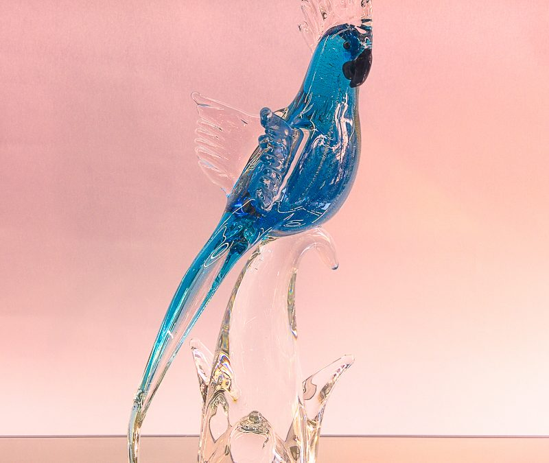 Blue Murano Glass parrot on a clear branch