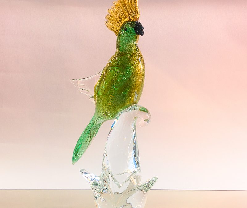 Green Murano Glass parrot on a clear branch