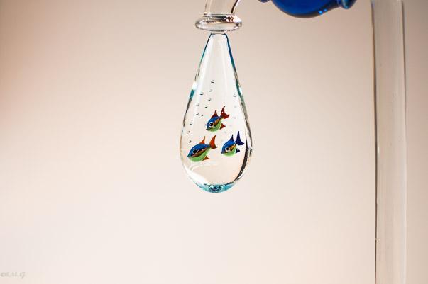 Particolare del Rubinetto in vetro di Murano con 3 pesci