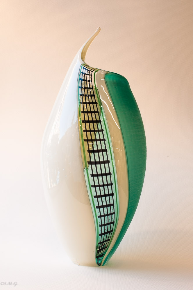 Murano Glass vase with white, green and black colours