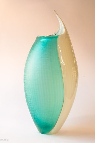 Murano Glass vase with white, green colours