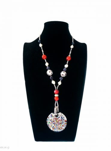 Murano Glass Necklace with round multicolour pendant and additional glass beads