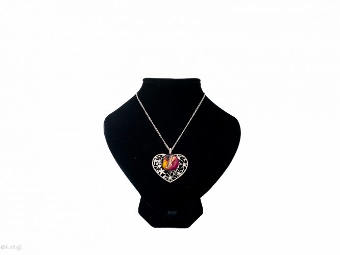 Heart shape necklace with Murano Glass beads