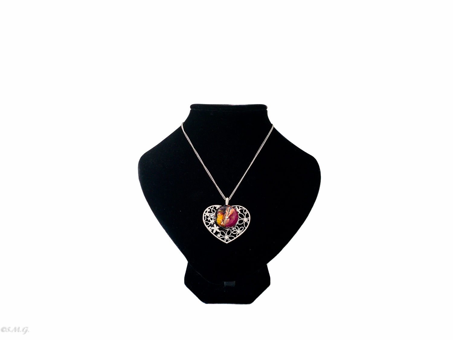 Heart shaped necklace with Murano Glass bead  001