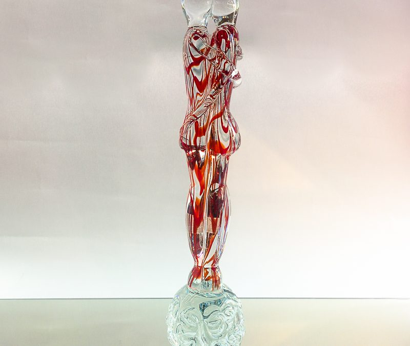Murano Glass lovers with red and clear glass medium size