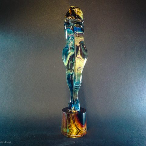 "Murano Glass Statue of lovers in ""Calcedonio"""