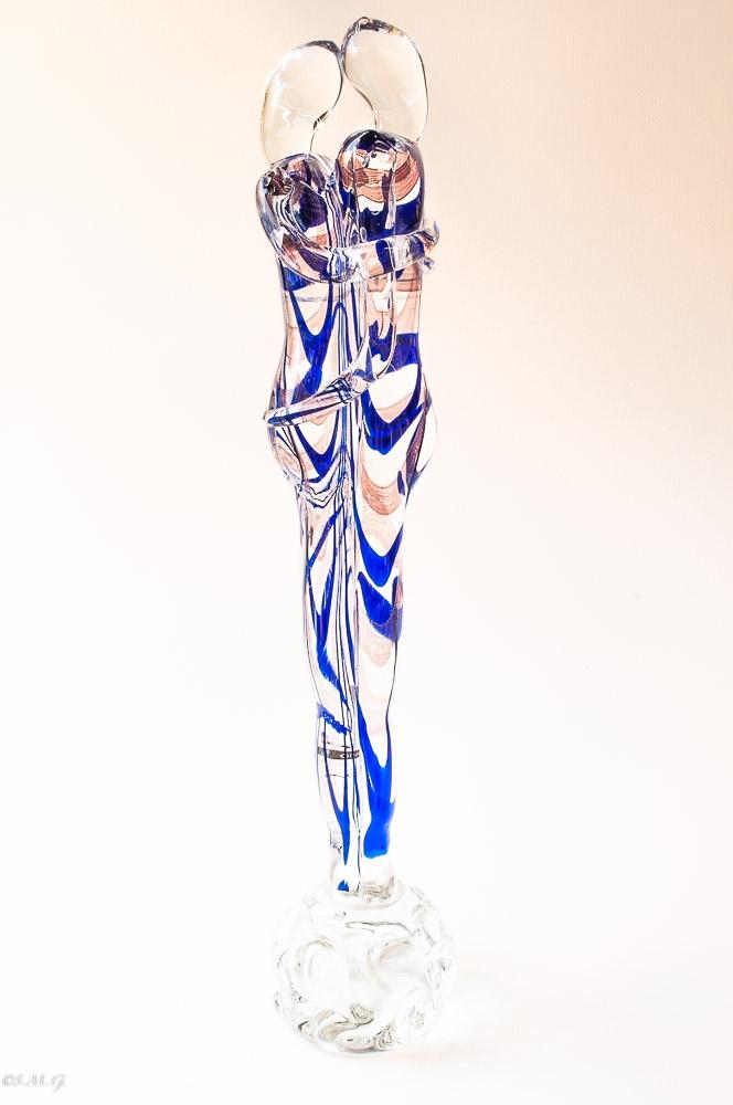 Murano Glass lovers with clear and blue big size