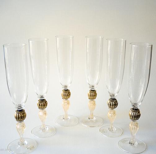 Set di 6 calici in vetro di Murano con oro