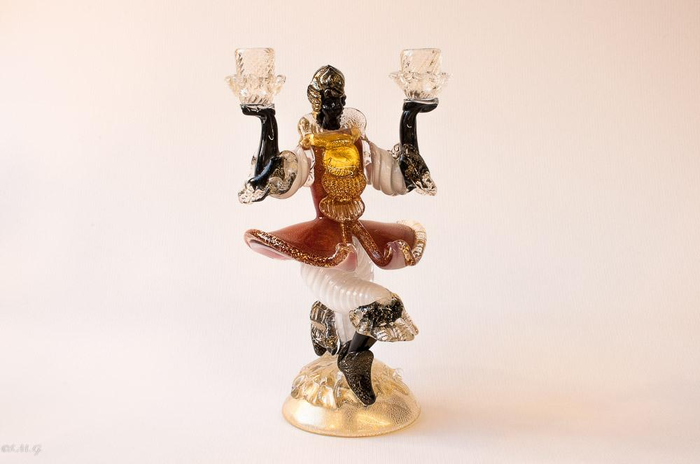 "Murano Glass Candelabrum in the shape of a man with 2 ""papaori"""