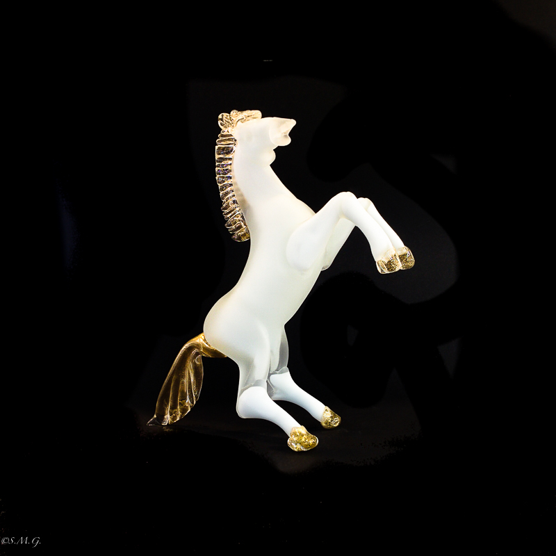 White horse with matte glass and gold