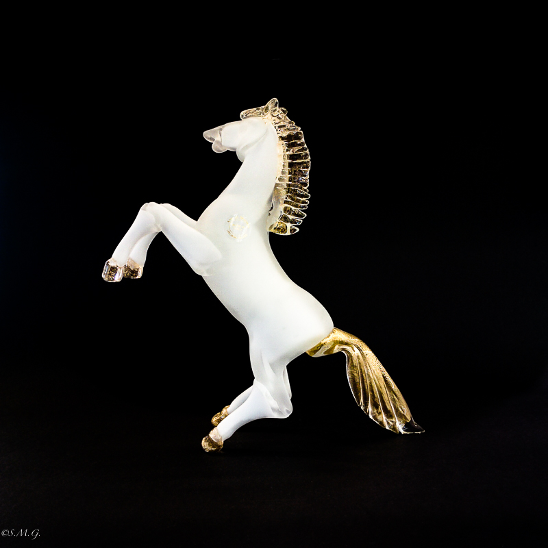 White Murano Glass horse with gold