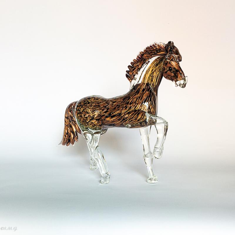 Black trotting horse with Avventurina