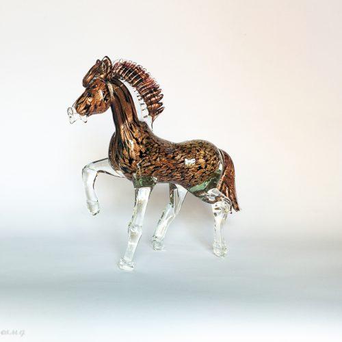 Murano Glass trotting black horse