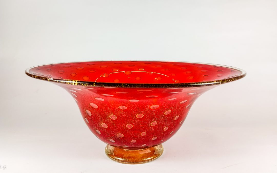 Red Murano Glass Bowl with 24k gold