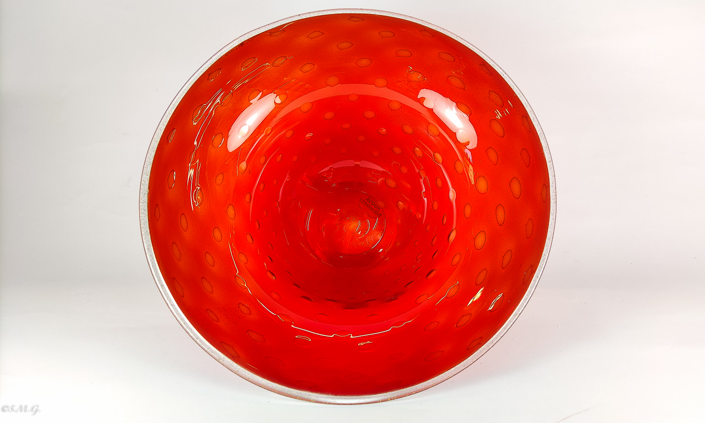 Murano Glass Red Bowl with 24k gold