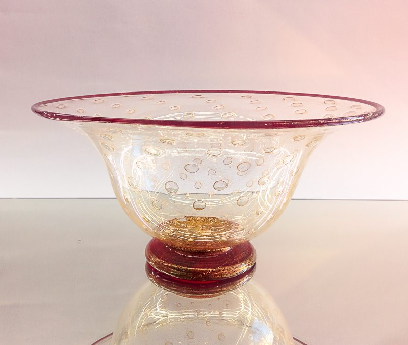Gold Murano Glass Bowl with red on top