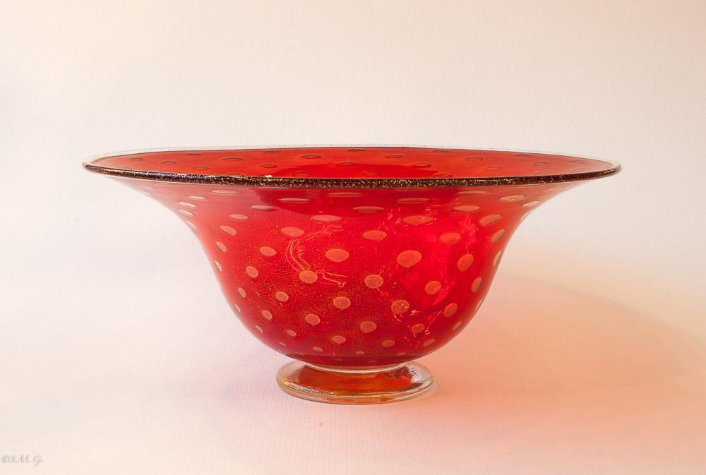 Ciotola in vetro di Murano rossa e oro
