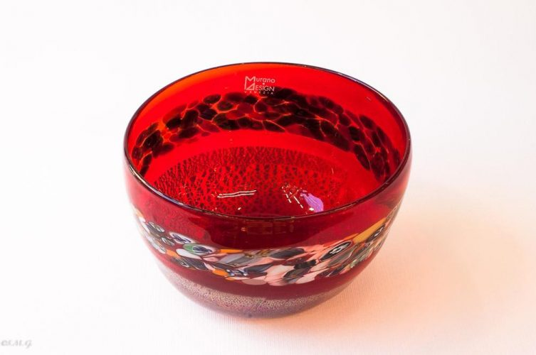 Murano Glass Red Bowl with Murrina and silver
