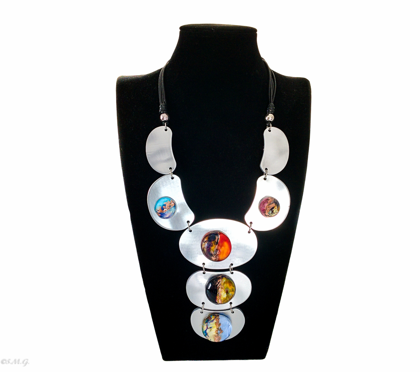 Murano Glass necklace with glass beads and metal plates