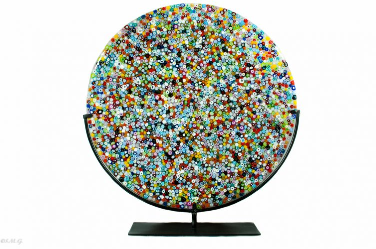 Murano glass round disc on a stand