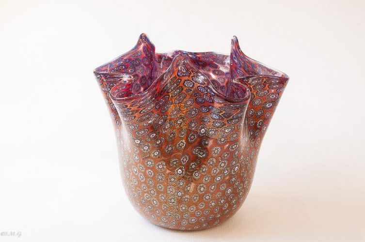 Murano Glass Vase with Murrina