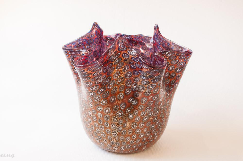 "Murano Glass Vase with Murrina ""Ruby"" collection"