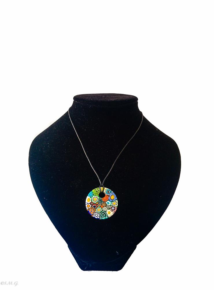 Round Murano Glass pendant with murrina and string