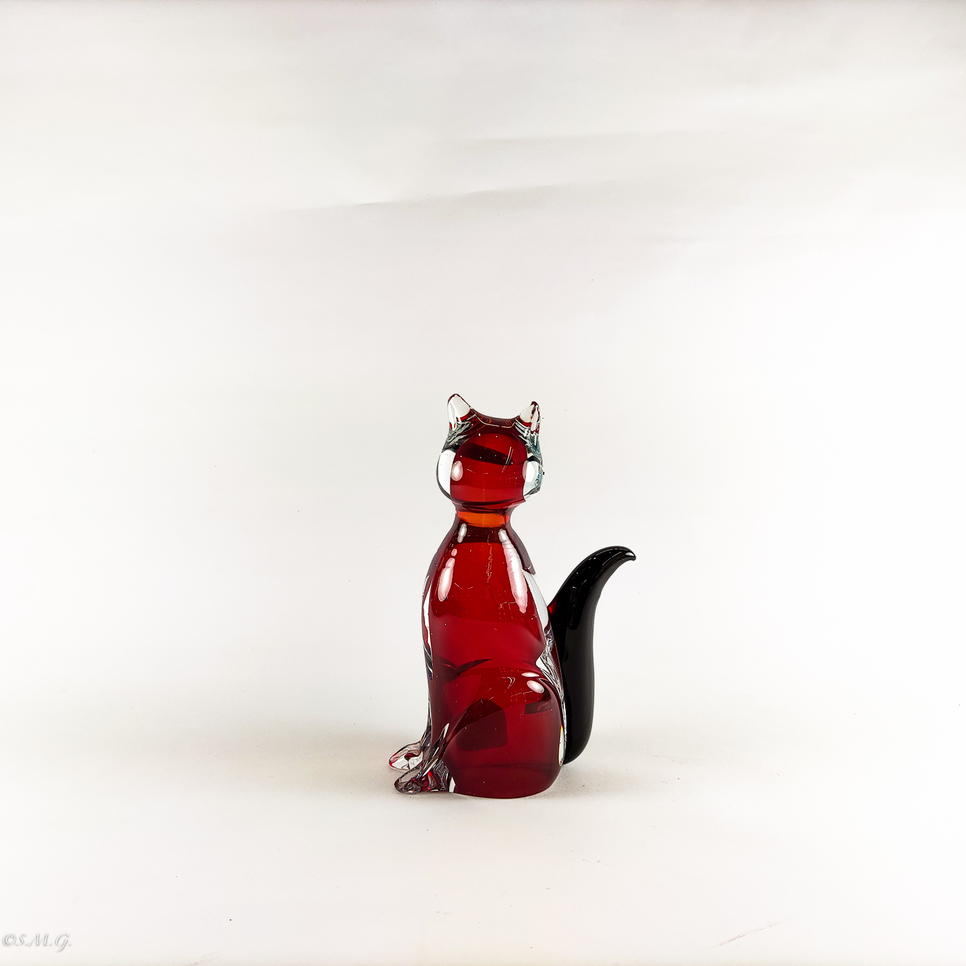Small Murano Glass red cat with black tail