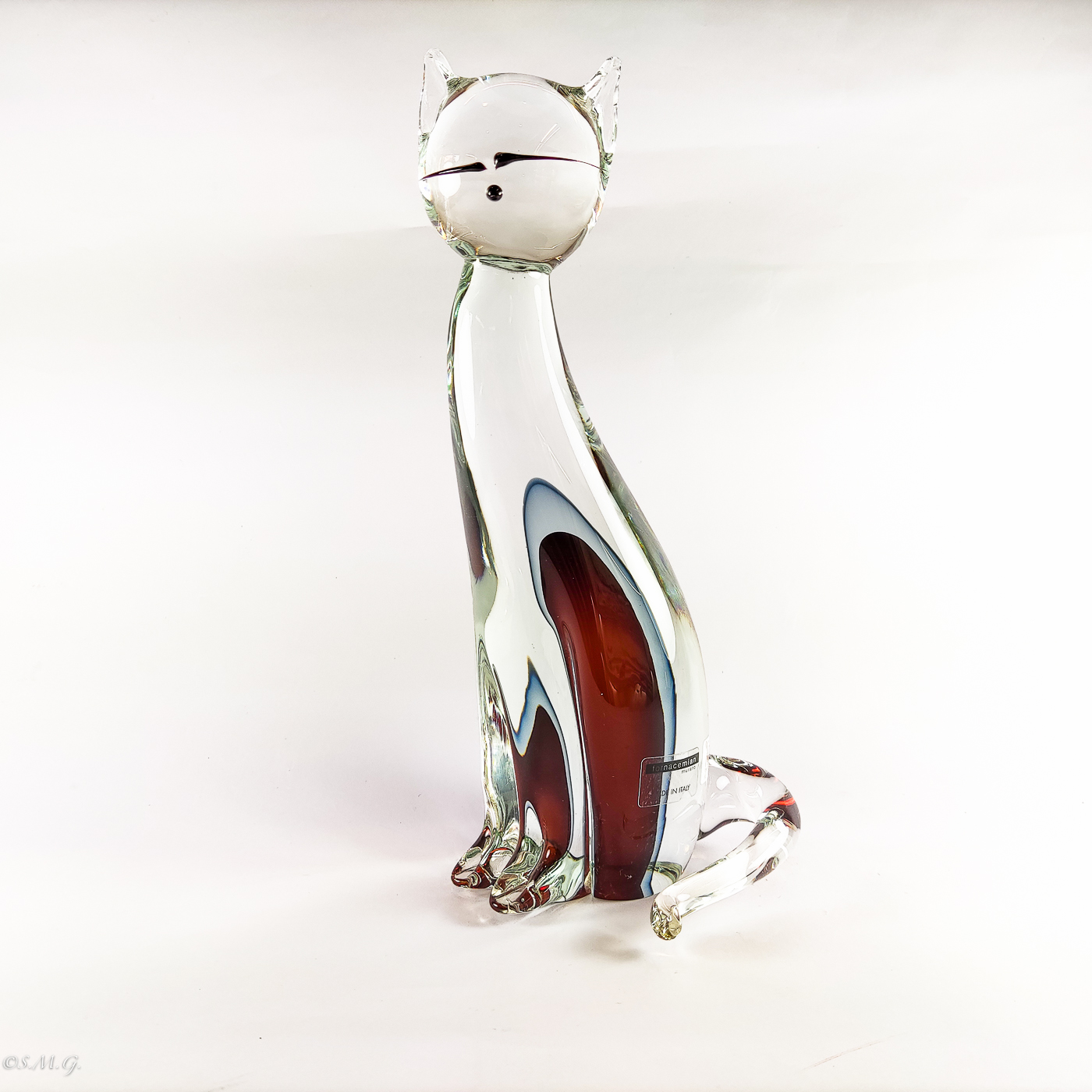 """Murano Glass Big red cat with """"sbuffo"""""""