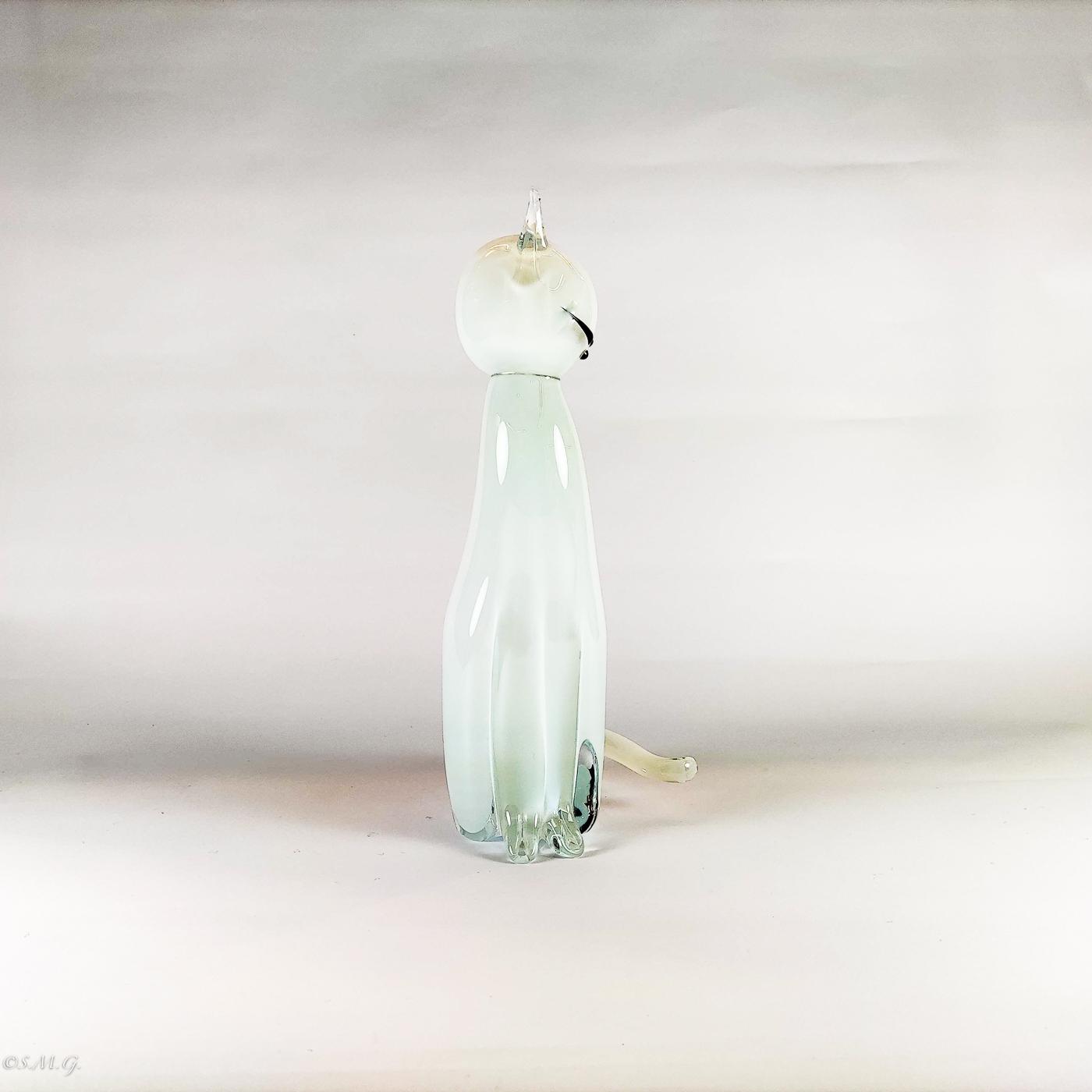 Murano Glass Big White Cat