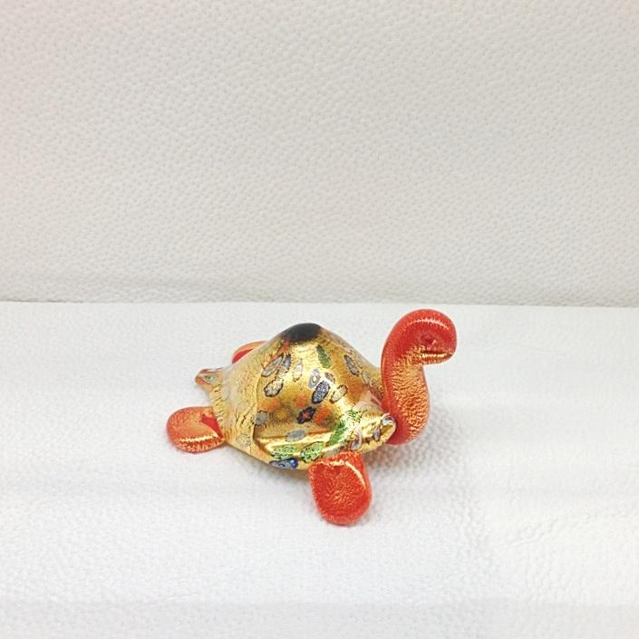 Murano Glass Red Turtle with 24k gold and murrina