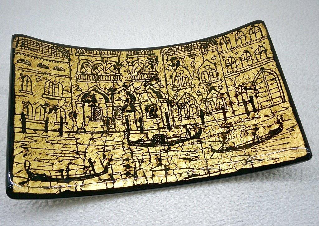 Piatto rettangolare nero in vetro di Murano con foglia oro e incisioni